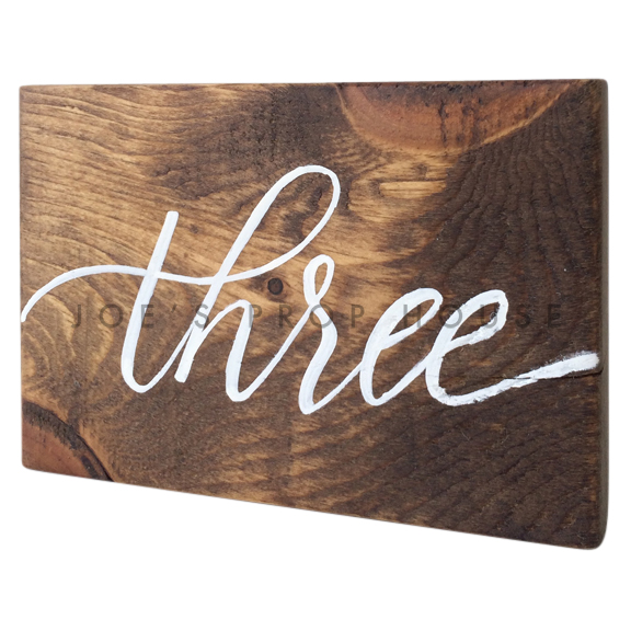 Wooden Table Number Block THREE W7in x H5in