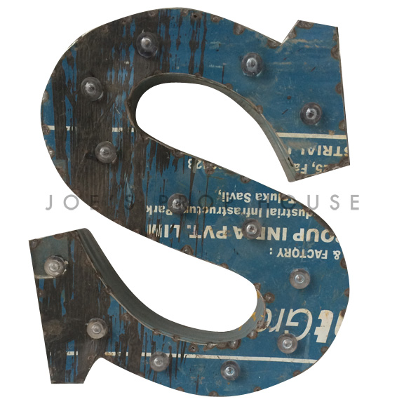 12in Recycled Metal Marquee Letter S