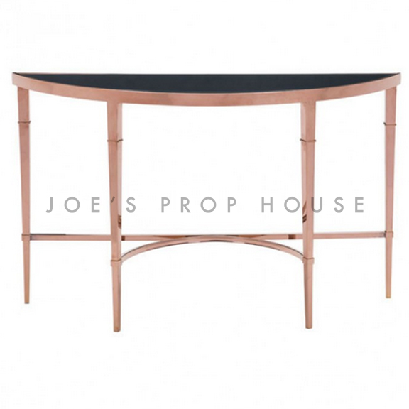 Rose Gold Demi-Lune Console Table Black Glasstop