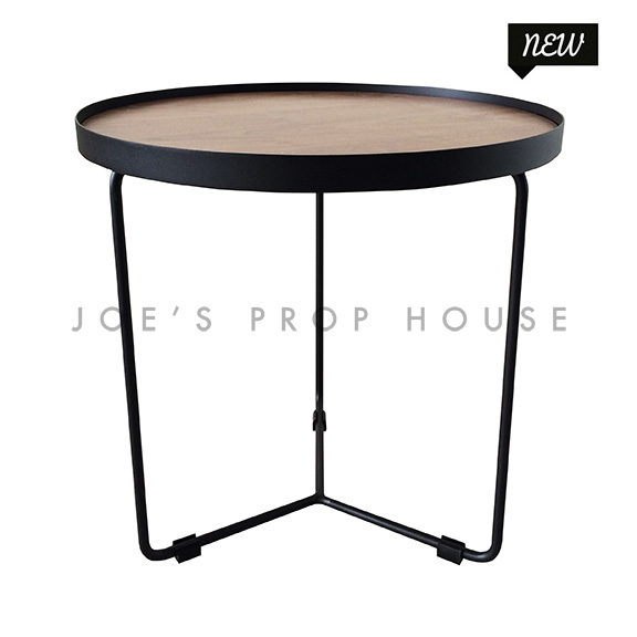 Holton Round Black Metal End Table w/Wood Top
