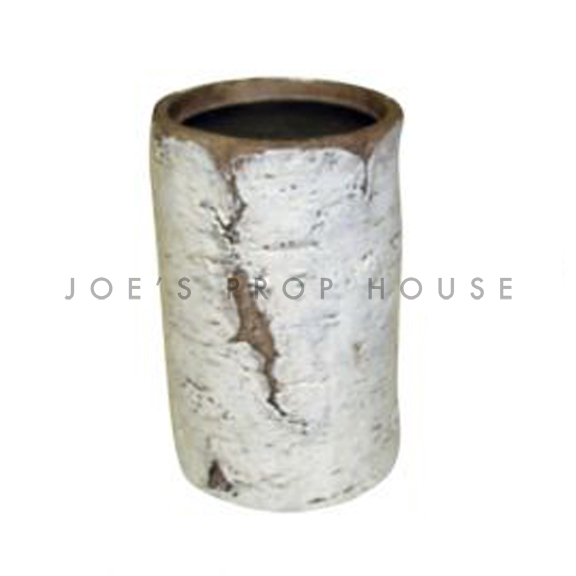 Faux Birch Log Pillar Candlestick Tall