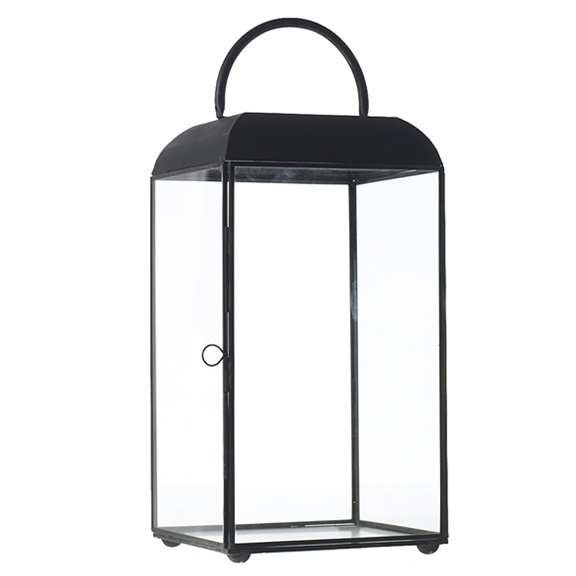 Maxwell Black Metal Lantern Small H14po
