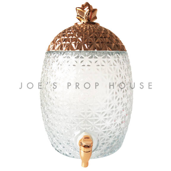 Pineapple Glass Beverage Dispenser w/Rose Gold Lid SMALL-6 liters