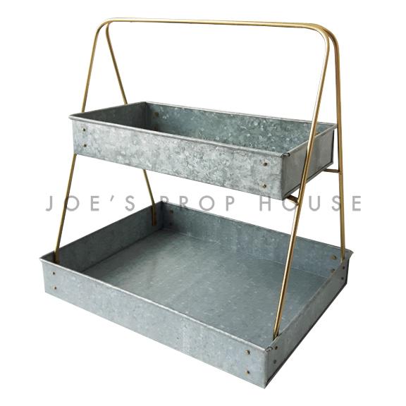 Plateau de service en métal galvanisé à deux niveaux