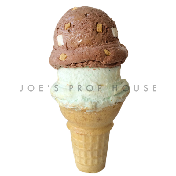 Chocolate Mint Double Scoop Ice Cream Cone Dessert Prop