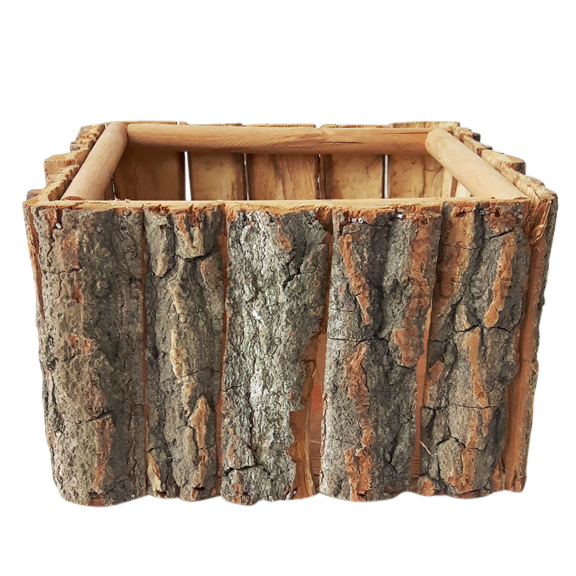 Square Tree Bark Basket Brown