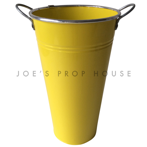Tall Metal Bucket w/Handles Yellow
