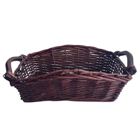 Demi Rectangular Wicker Basket w/Handles Dark Brown