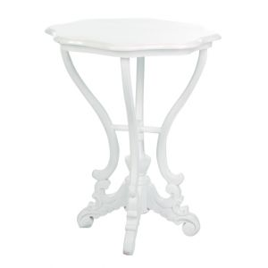 Scallop End Table White