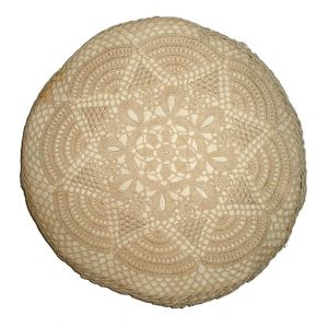 Vintage Crochet Round Accent Pillow Beige D15in