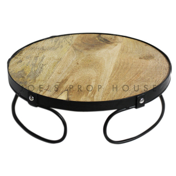 Embla Round Wood & Metal Cake Stand Large