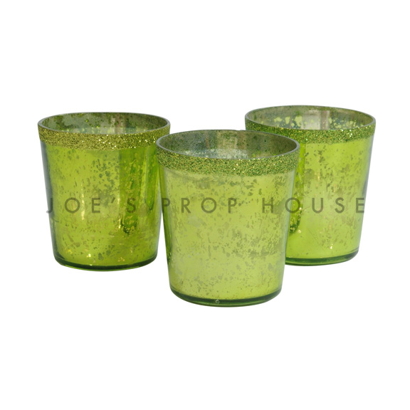 Mercury Glass Votive Cups Lime Green