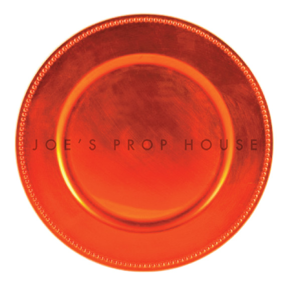 Orange Tangerine Beaded Charger Plate