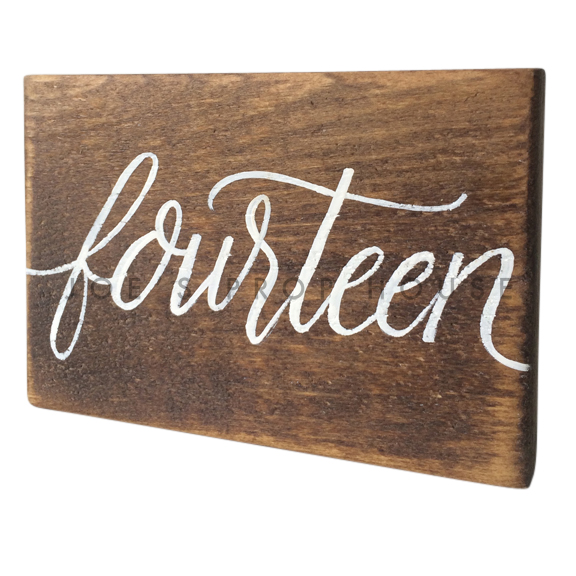 Wooden Table Number Block FOURTEEN W7in x H5in