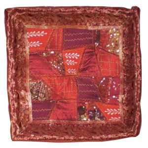Amal Square Patchwork Pillow Red