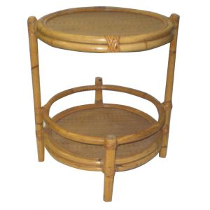 Round Bamboo End Table