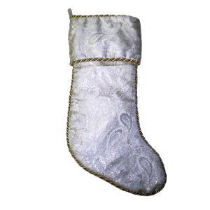 BUY ME / USED ITEM $12.99 White Paisley Christmas Stocking