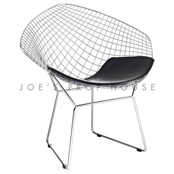 BUY ME / USED ITEM $195.00 each Replica Bertoia Wire Chair Black Cushion