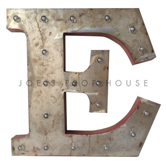 18in Galvanized Metal Marquee Letter E