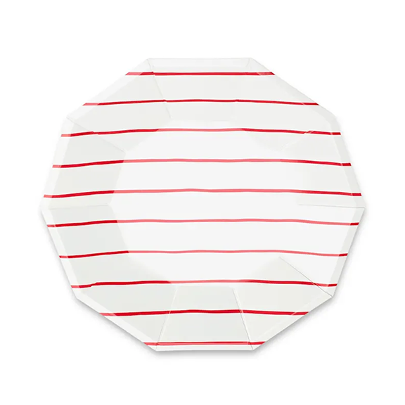 BUY ME / NEW ITEM $10.99 each Red Frenchie Stripe Large Paper Plates - 8 Pack