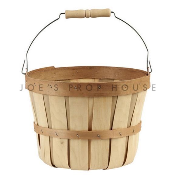 Chipwood Bushel Basket w/Swing Handle SMALL