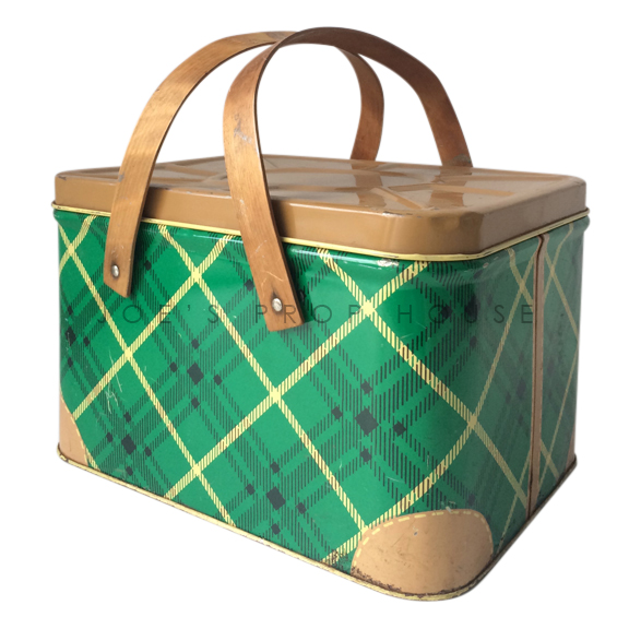 Vintage Green Plaid Picnic Basket