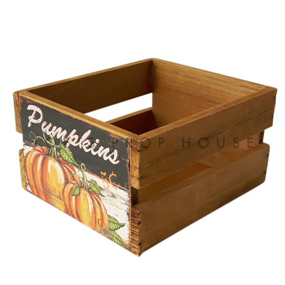 BUY ME / USED ITEM $4.99 each Pumpkins Wooden Crate Small Brown