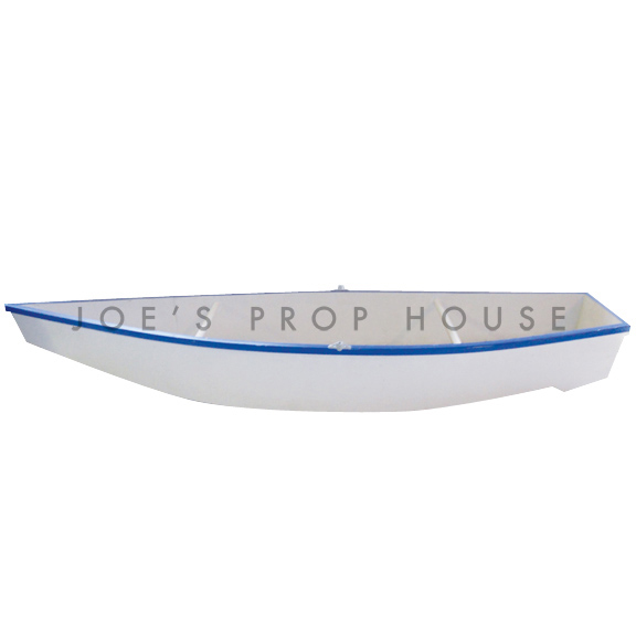 Lifesize White Fisherman Boat w/BLUE Stripe