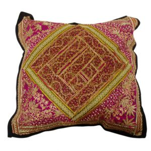 Fatima Embroidered Pillow Burgundy