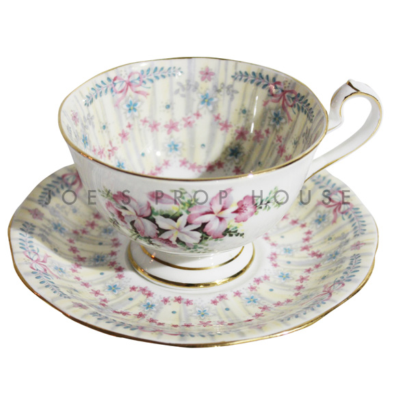 Bows and Florals Teacup and Saucer