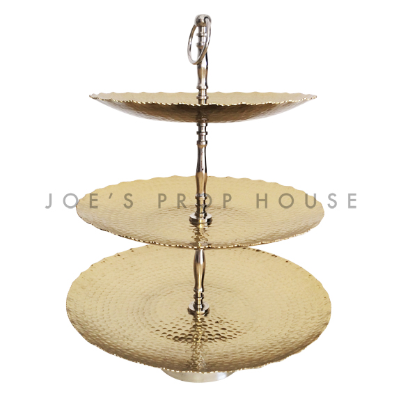 Hammered Metal Three Tier Serving Tray Gold