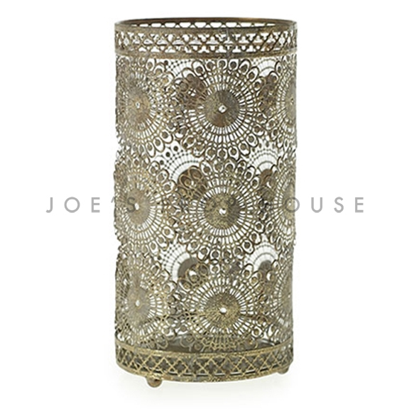 Mendhi Floral Metal Aged Gold Votive Cup TALL H7.5in