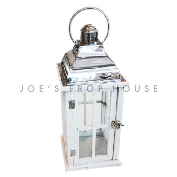 Square Wood Cottage Lantern White Small