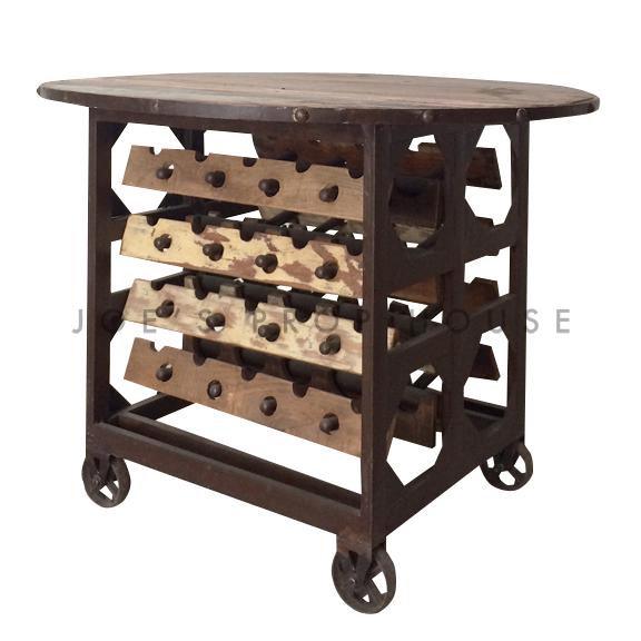 Round Rolling Wine Cart