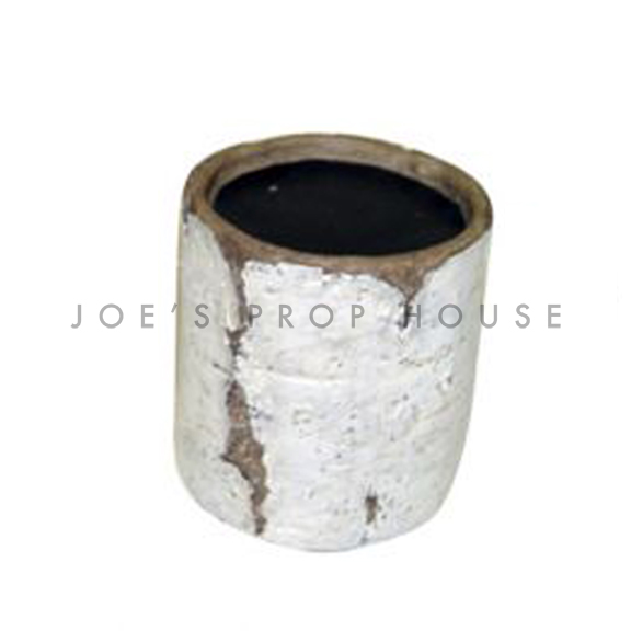 Faux Birch Log Pillar Candlestick Short