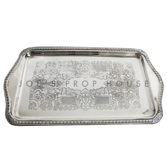 Eleanor Engraved Rectangular Silver Serving Tray