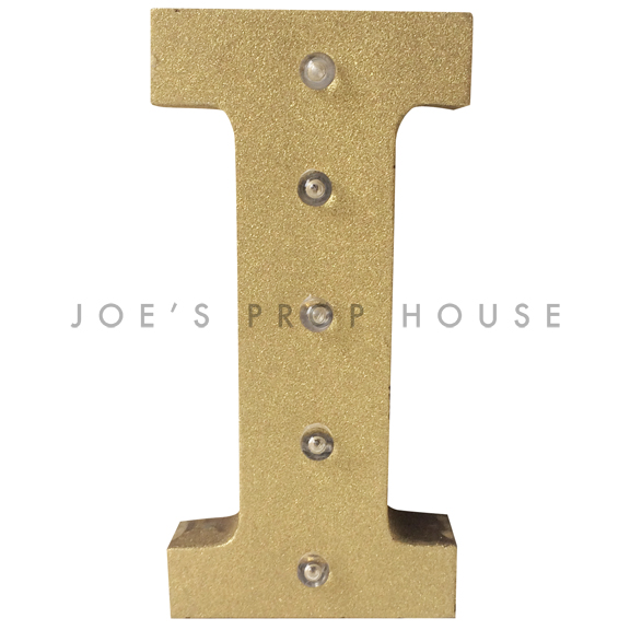12in Gold Glitter Metal Marquee Letter I
