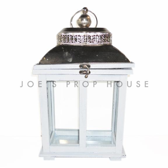 Rectangular Wood Cottage Lantern White Small