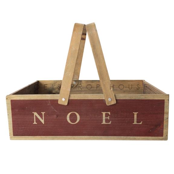 BUY ME / USED ITEM $15.99 NOEL Wooden Basket w/Handles LARGE
