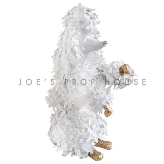 Lifesize Sitting Up Papier Maché Poodle White/Gold