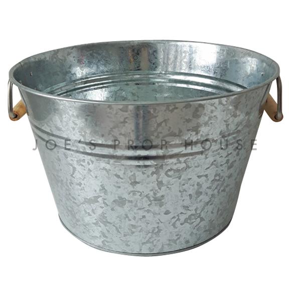 Galvanized Metal Bucket w/Wooden Handles