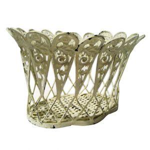 Della Ornate Metal Basket Ivory