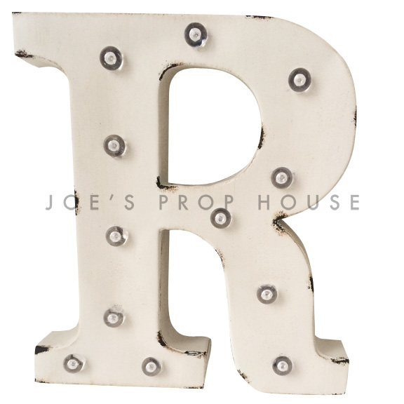 12in Ivory Metal Marquee Letter R