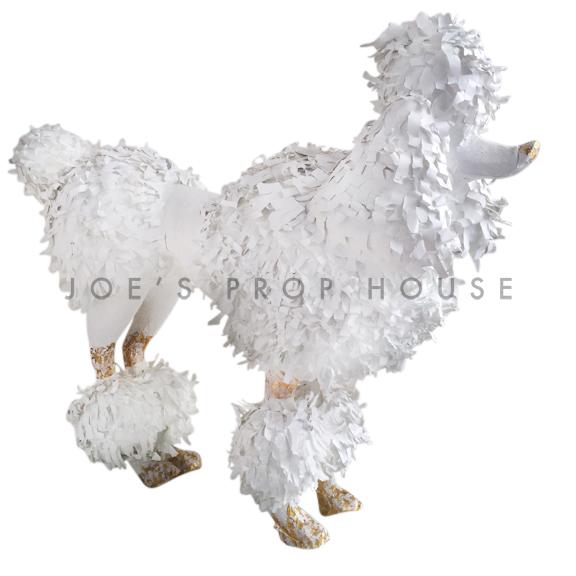 Lifesize Standing Papier Maché Poodle White/Gold