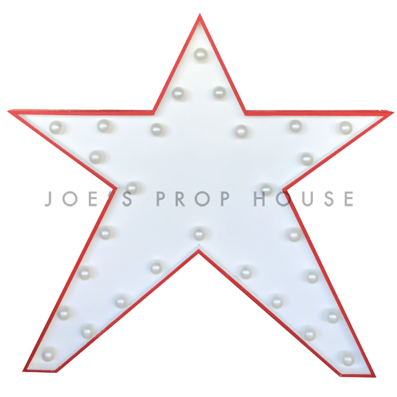 Red + White Self-Standing Marquee Star H50in x W51in
