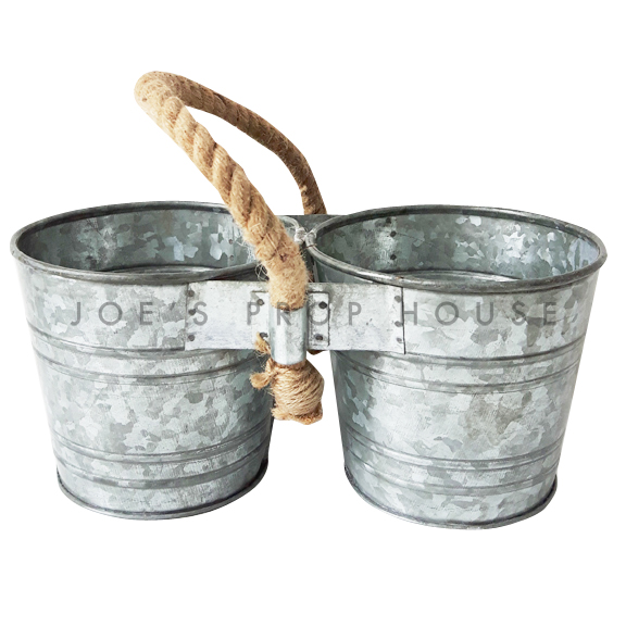Duo Galvanized Buckets w/Rope Handle Small