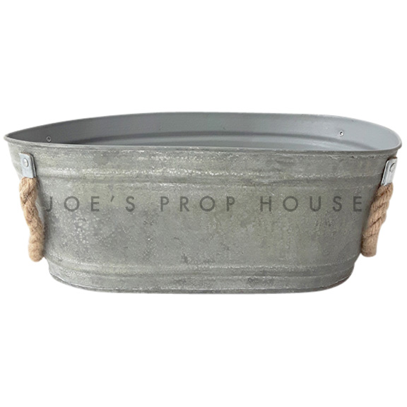 Oval Galvanized Bucket w/Rope Handles