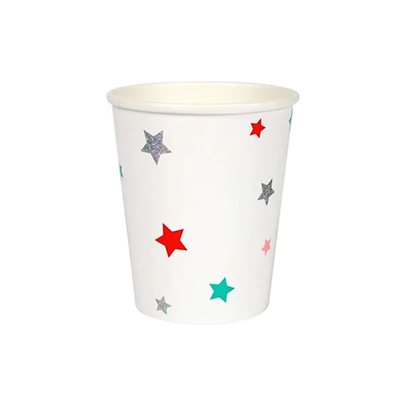 BUY ME / NEW ITEM $6.99 each Assorted Color Stars Paper Cups - 8 Pack