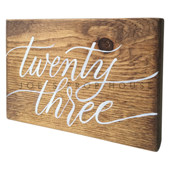 Wooden Table Number Block TWENTY THREE W7in x H5in