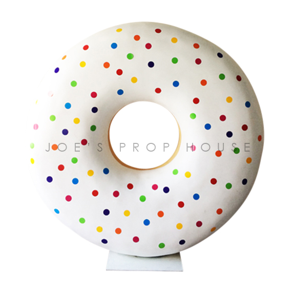 Giant Self-Standing Rainbow Polka Dot Donut D72in